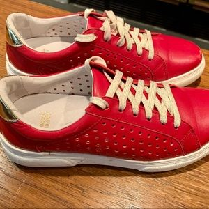 """Johnston & Murphy """"Nora"""" Red/Gold Sneakers Size 7"""